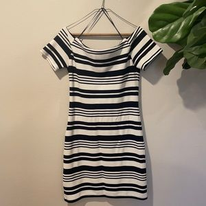 Navy&White Striped Off the Shoulder Cocktail Dress